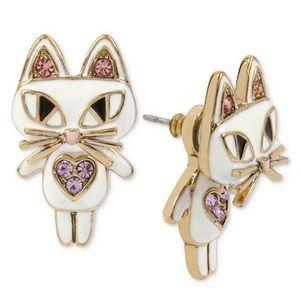 Betsy Johnson Gold Tone White Enamel Cat Earrings